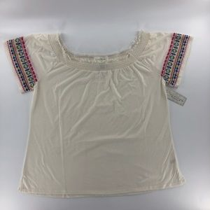 French Laundry Off Shoulder Embroidered Sleeve Top